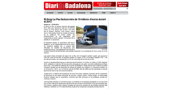 Grup La Pau al Diari de Badalona